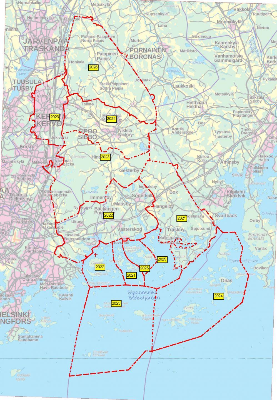 Keravan Energian ja Sipoon Energian raivausaikataulu 2021-2026