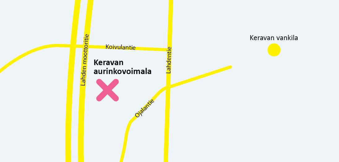 Keravan Aurinkovoimala sijaitsee Keravan Vankilan läheisyydessä Lahdentien ja Koivulantien rajaamalla tontilla